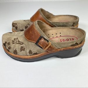 Klogs Austin Taupe Leather Suede Mules Clo…
